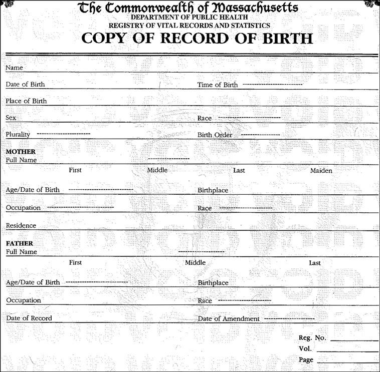 state of massachusetts birth certificates
